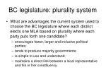 bc legislature plurality system