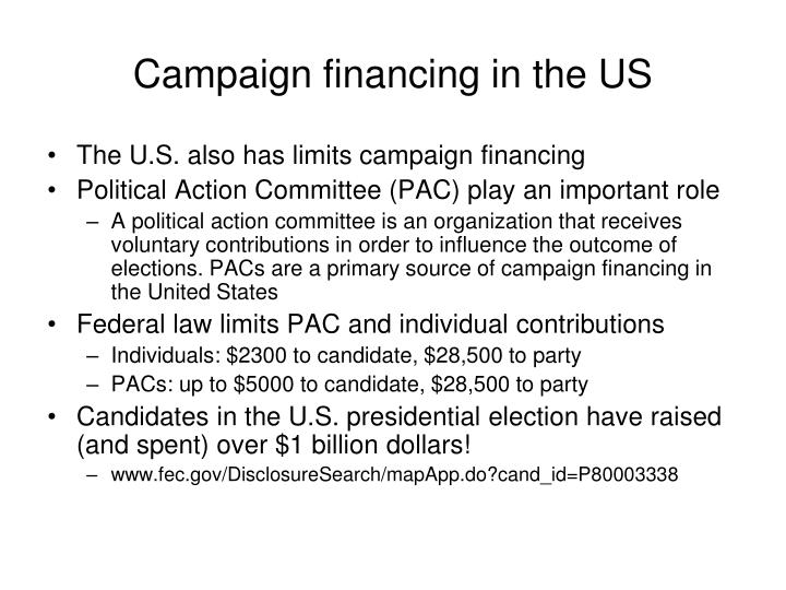 Campaign financing in the US