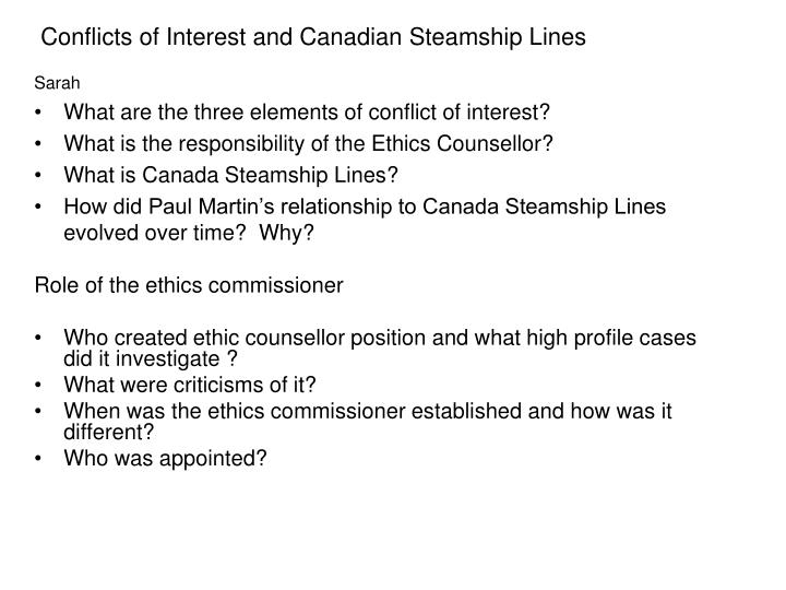 Conflicts of Interest and Canadian Steamship Lines