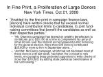 in fine print a proliferation of large donors new york times oct 21 2008