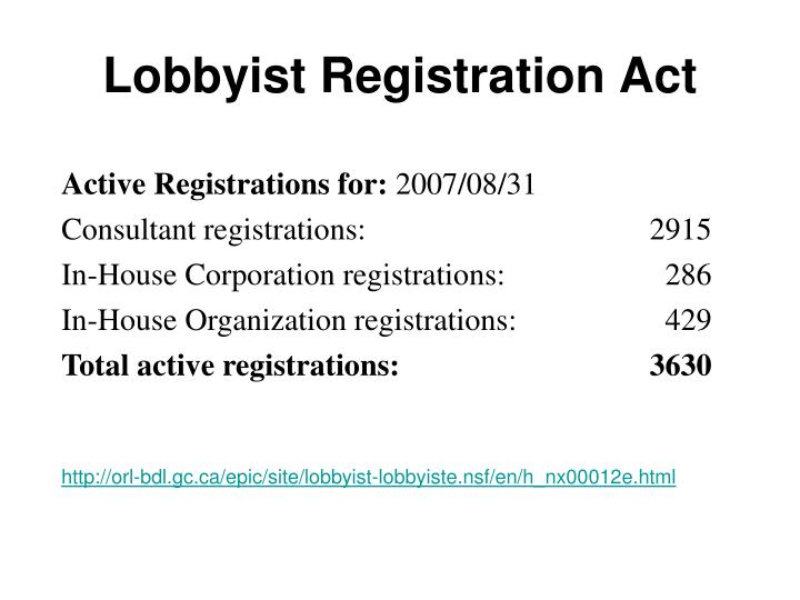 Lobbyist Registration Act