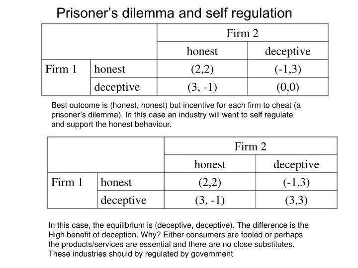 Prisoner's dilemma and self regulation