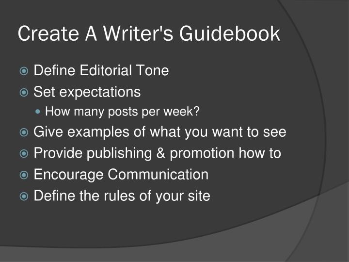 Create A Writer's Guidebook