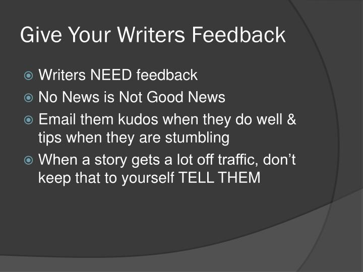 Give Your Writers Feedback