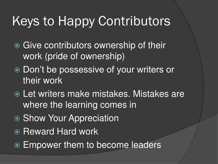 Keys to Happy Contributors