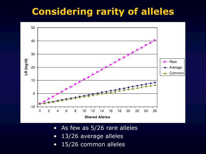 Considering rarity of alleles