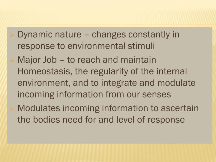 Dynamic nature – changes constantly in response to environmental stimuli