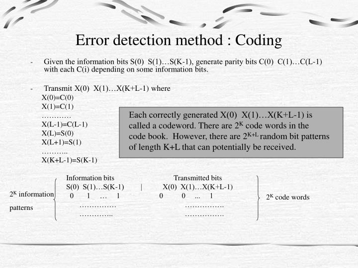 Error detection method : Coding