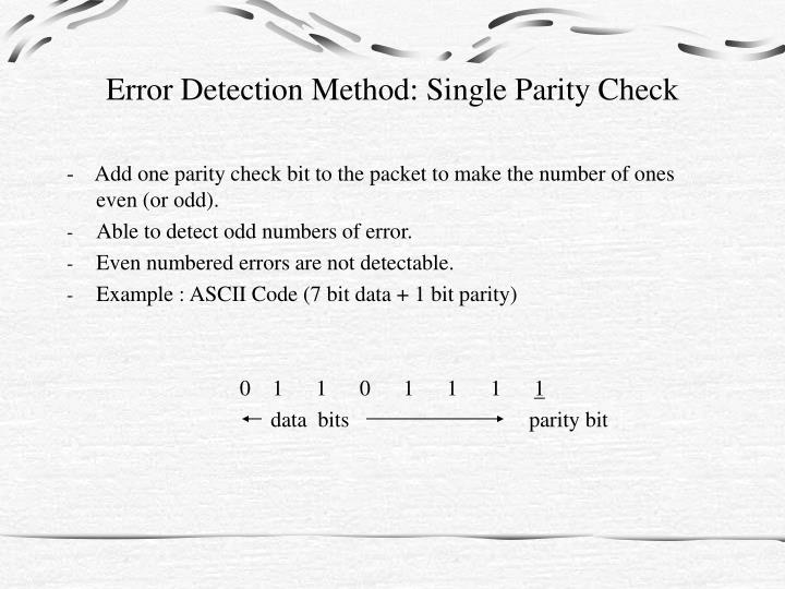 Error detection method single parity check