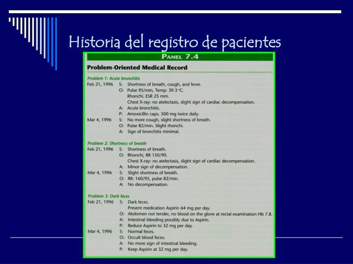 Historia del registro de pacientes