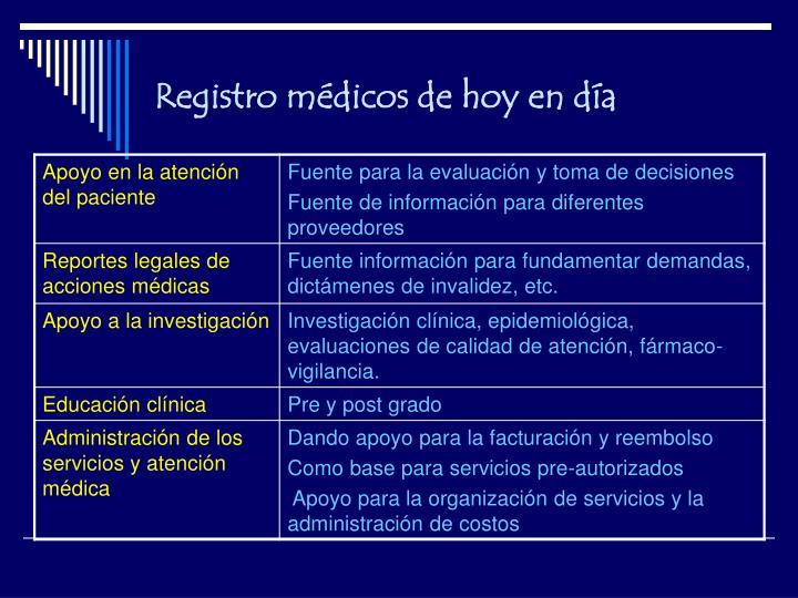 Registro médicos de hoy en día