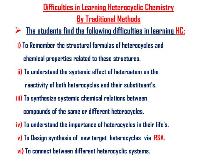 Difficulties in Learning Heterocyclic Chemistry
