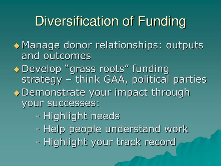 Diversification of Funding