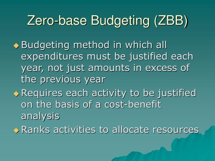 Zero-base Budgeting (ZBB)