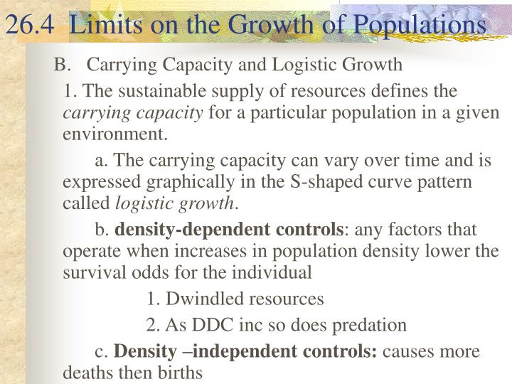 26.4  Limits on the Growth of Populations