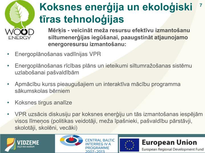 Koksnes enerģija un ekoloģiski tīras tehnoloģijas