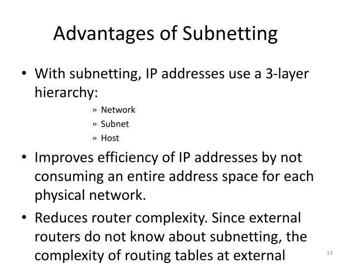 Advantages of Subnetting