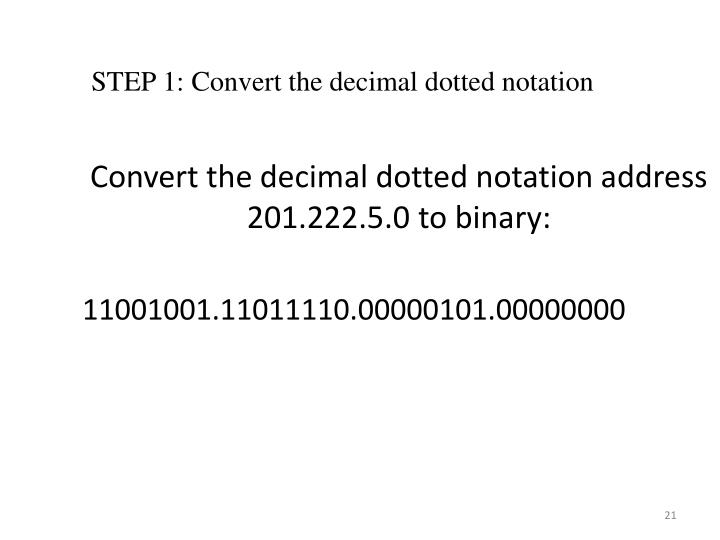 Convert the decimal dotted notation address 201.222.5.0 to binary: