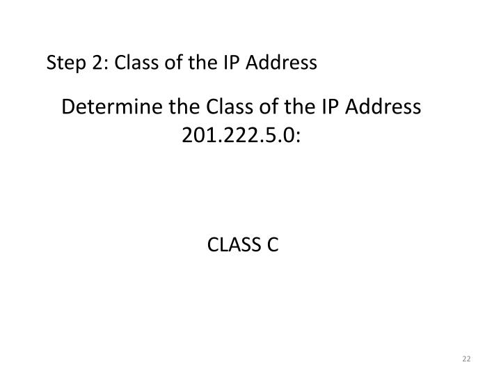 Determine the Class of the IP Address 201.222.5.0: