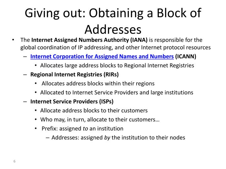 Giving out: Obtaining a Block of Addresses