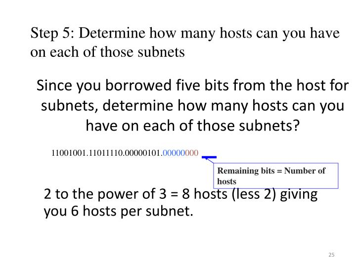 Since you borrowed five bits from the host for subnets, determine how many hosts can you have on each of those subnets?