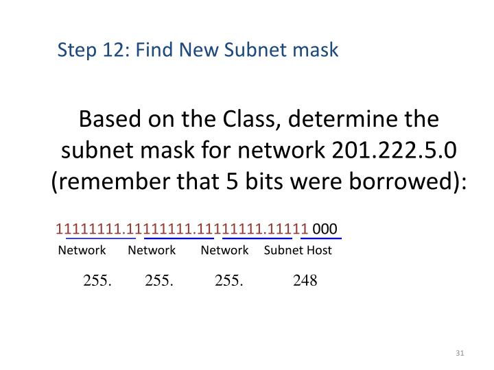 Based on the Class, determine the subnet mask for network 201.222.5.0 (remember that 5 bits were borrowed):