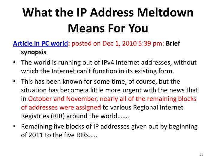 What the IP Address Meltdown Means For You