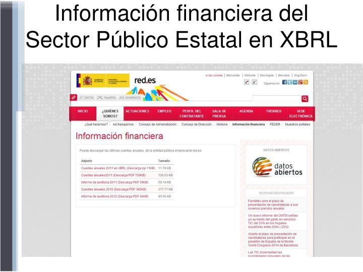 Información financiera del Sector Público Estatal en XBRL