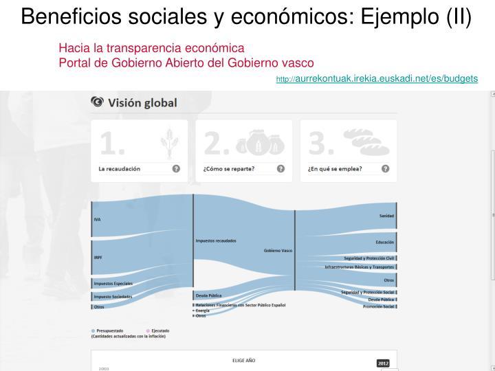 Beneficios sociales y económicos: Ejemplo (II)