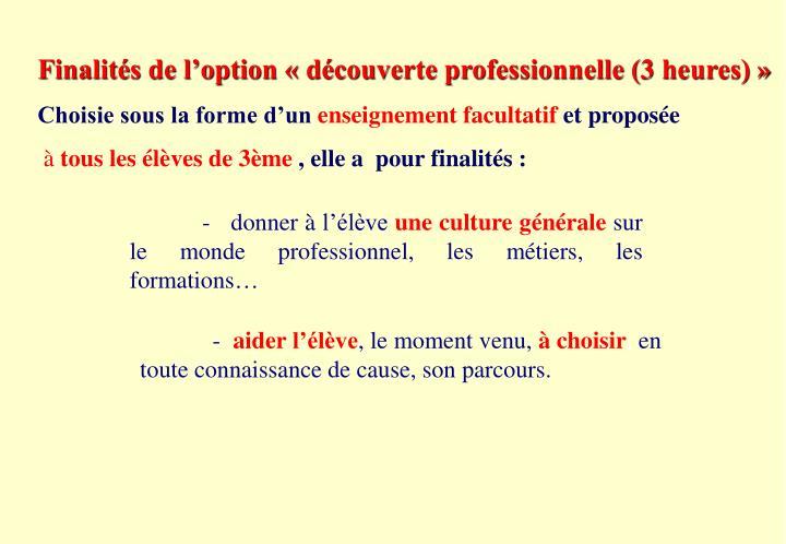 Finalités de l'option « découverte professionnelle (3 heures)»