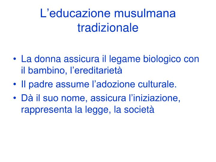 L'educazione musulmana tradizionale