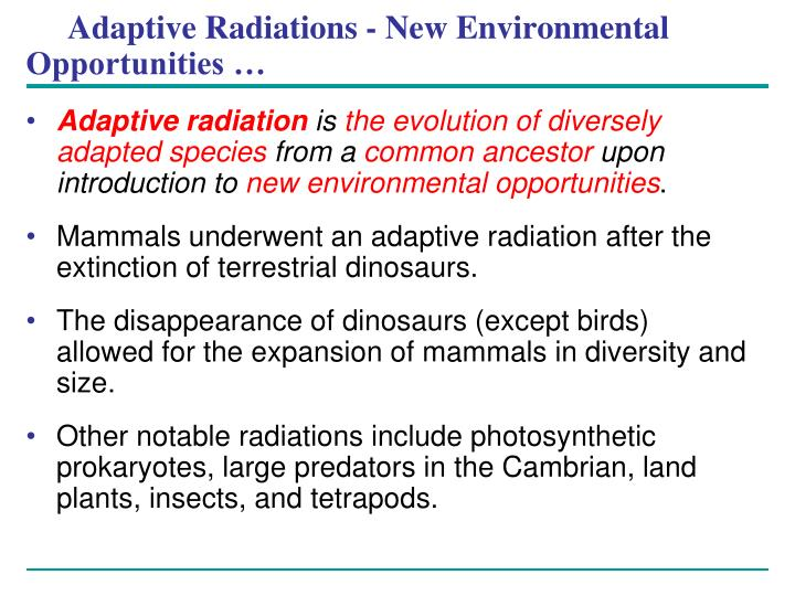 Adaptive Radiations - New Environmental Opportunities …