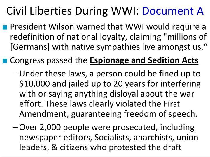 Civil Liberties During WWI: