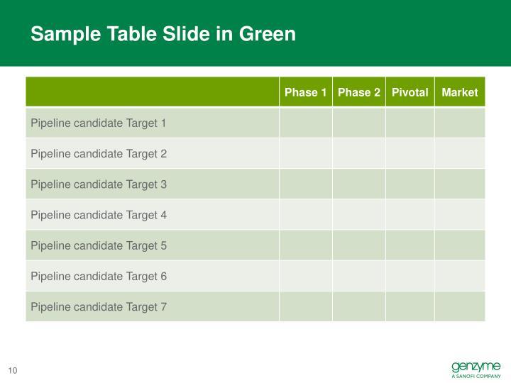Sample Table Slide in Green
