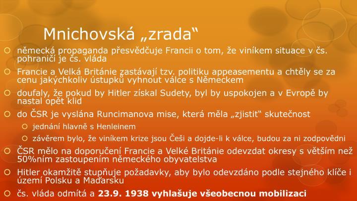 """Mnichovská """"zrada"""""""