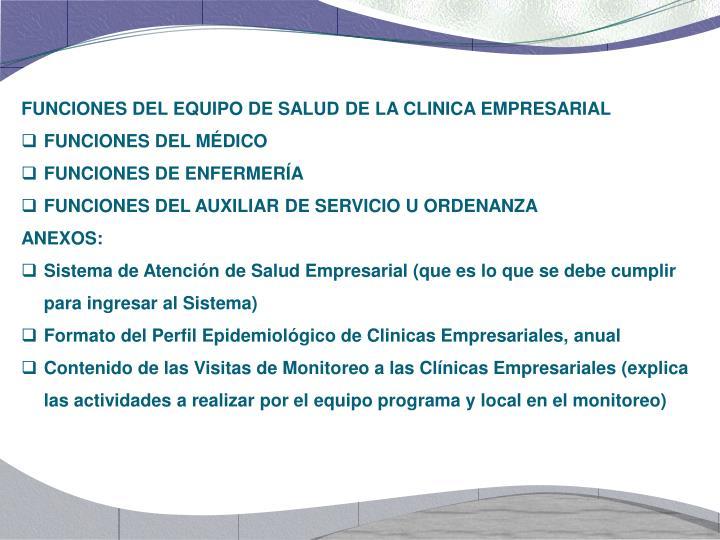 FUNCIONES DEL EQUIPO DE SALUD DE LA CLINICA EMPRESARIAL