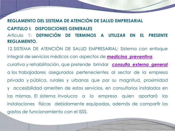 REGLAMENTO DEL SISTEMA DE ATENCIÓN DE SALUD EMPRESARIAL