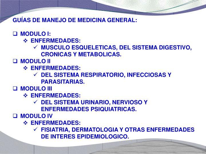 GUÍAS DE MANEJO DE MEDICINA GENERAL: