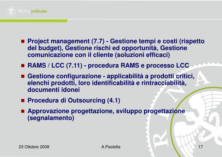 Project management (7.7) - Gestione tempi e costi