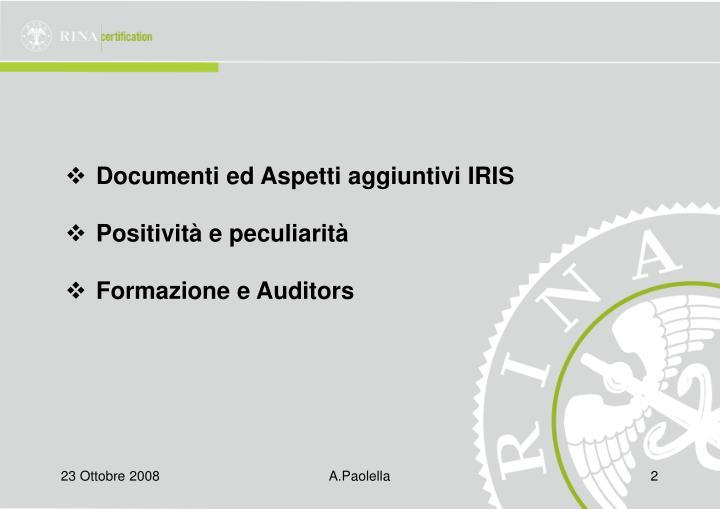 Documenti ed Aspetti aggiuntivi IRIS
