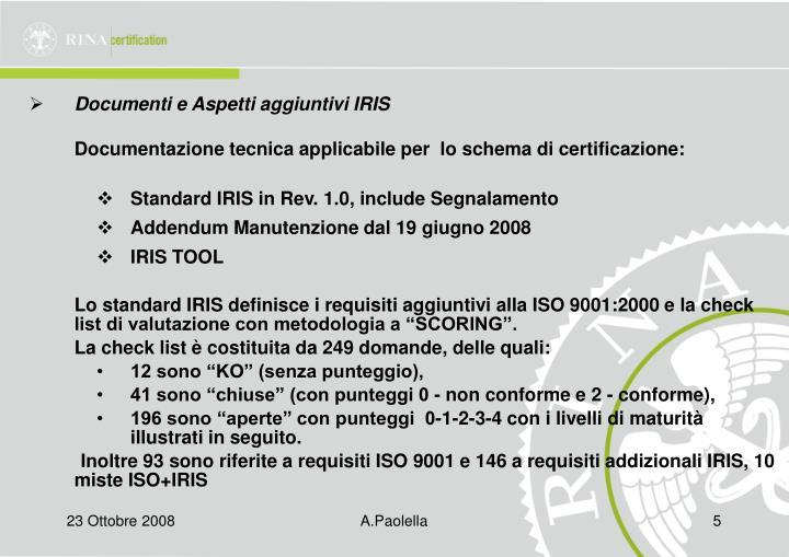 Documenti e Aspetti aggiuntivi IRIS