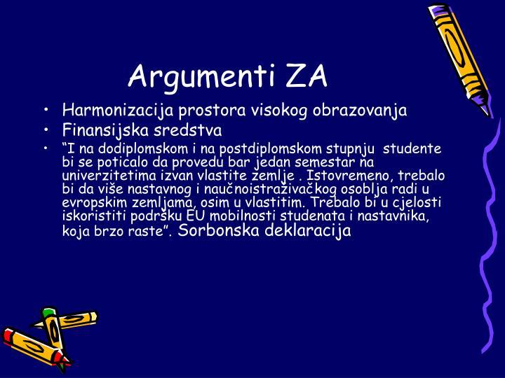 Argumenti ZA