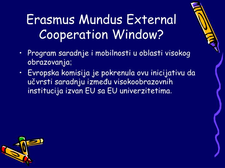 Erasmus mundus external cooperation window
