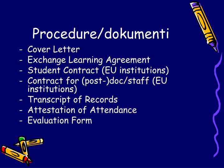 Procedure/dokumenti