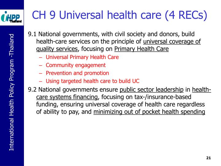 CH 9 Universal health care (4 RECs)