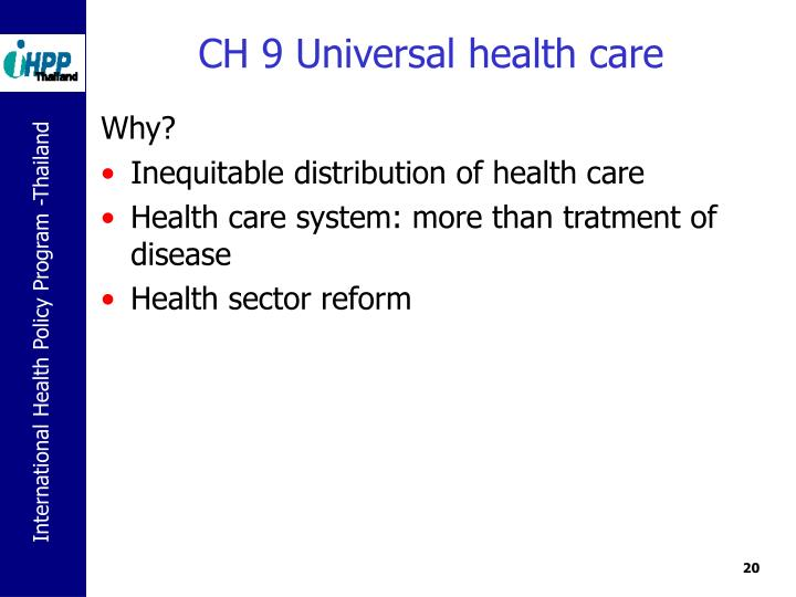 CH 9 Universal health care