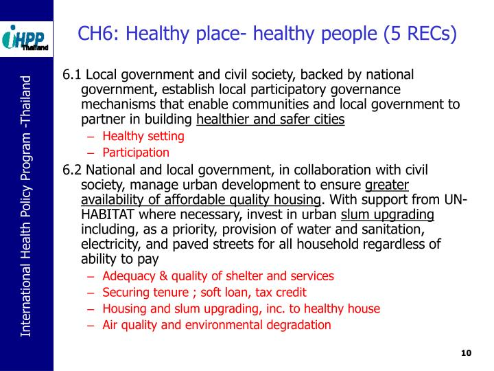CH6: Healthy place- healthy people (5 RECs)