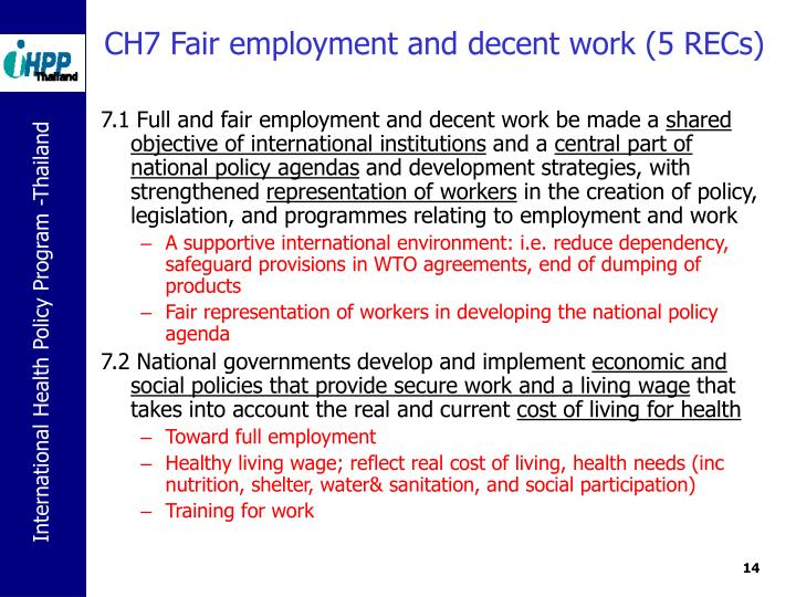 CH7 Fair employment and decent work (5 RECs)