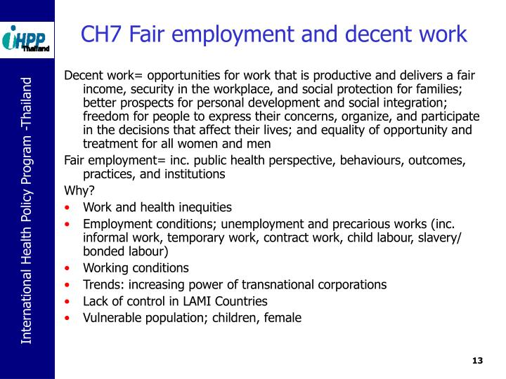 CH7 Fair employment and decent work