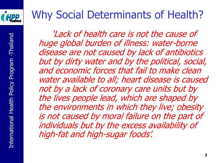Why social determinants of health